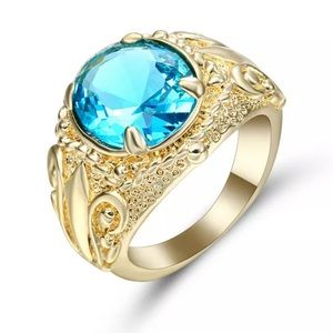 Jewelry - SZ6.5 10KT YELLOW GOLD & SKY BLUE TOPAZ RING